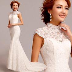 Ivory White Lace Mermaid Vintage Cheongsam Style Wedding Bridal Dress SKU-117138
