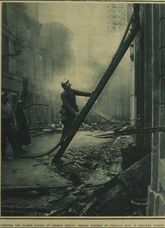 "WWI, Verdun:""Fighting the flames caused by German shells, French firemen on perilous duty in stricken Verdun."""