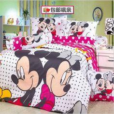 Hot! Rato mickey e minnie mouse jogo de cama queen size capas de edredão/100% de cama de algodão folha plana para crianç...