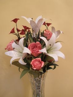 Origami Roses and Lilies