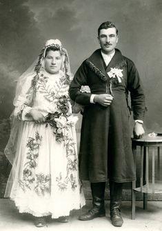 Bride and groom from the vicinity of Łańcut, - Polish Folk Costumes / Polskie stroje ludowe Folk Costume, Costumes, Polish Folk Art, Reference Images, Fur Coat, Groom, Bride, People, Folklore