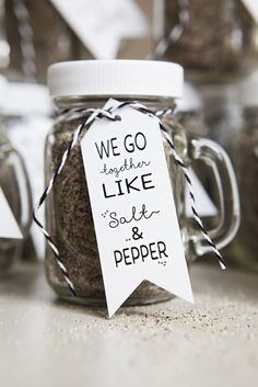 """""""We go together like Salt & Pepper!"""" ...if you are planning a rustic, mason jar style wedding then these spice shaker favors will be the perfect touch!"""