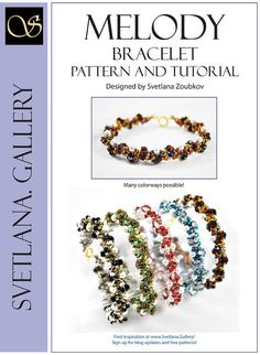Melody Bracelet Bead Pattern and Tutorial features Superduo twp-hole beads, glass pearls and Czech firepolished beads. It is a quick and fun pattern for all who would like to create a collection of elegant and classic bracelets, make a gift for someone who loves elegant jewelry or simply loves beading. Many illustrations provided along the way.  Contains 5 pages plus the Cover page.  Melody Bracelet can be reproduced in many color variations. It is simply fun to explore as many of them as…