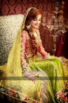 Pakistani Bride pinned by Pakistani Mehndi Dress, Bridal Mehndi Dresses, Pakistani Wedding Dresses, Mehendi, Pakistani Couture, Indian Sarees, Desi Bride, Desi Wedding, Pakistan Bride