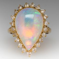 Vintage Opal Cocktail Ring with Diamond Halo 18K Gold