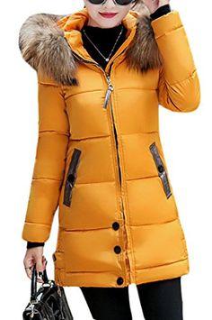 de6013815703 Fulok Womens Winter Jacket Thicken Outerwear Hooded Slim Coats Parkas  Yellow S Casual Coats For Women