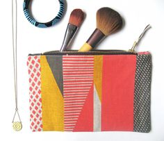 www.tamasyngambell.com Cosmetic Pouch, Printed Linen, Silk Screen Printing, Blue Stripes, Cosmetics, Texture, Tote Bag, Grey Yellow, Prints