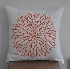 White and Orange Pillow