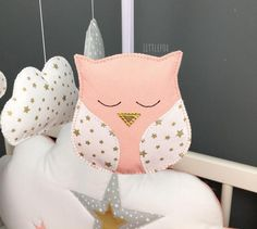 Items similar to Baby Mobile Moon Mobile Baby Crib Mobile Owl Mobile Cot Mobile Clouds Nursery Mobile Decor Baby Birth it's a girl it's a boy new mom gift on Etsy Owl Mobile, Baby Crib Mobile, Baby Bedroom, Nursery Room, Clouds Nursery, Animal Cushions, Cot Bumper, Owl Fabric, Baby Birth