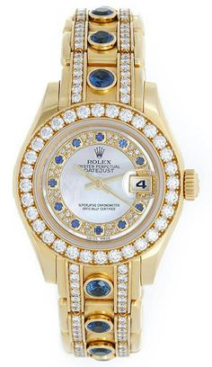 Rolex Pearlmaster Mother Of Pearl Myriad Sapphire Ladies Watch 80298 Stylish Watches, Luxury Watches For Men, Cool Watches, Fossil Watches, Rolex Watches, Wrist Watches, Diamond Watches, Titanium Watches, Men Accessories