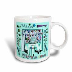 3dRose Birthday Room in Green, Happy Birthday to You, 20 Year Old, Ceramic Mug, 15-ounce