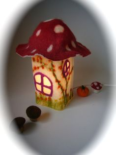 "Table Lamp cover  ""Toadstool""  Wet Felted.Waldorf.Mushroom."