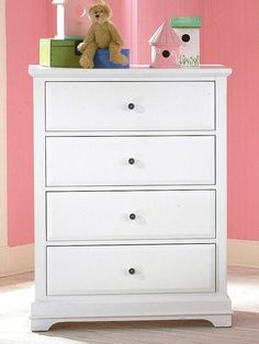 $480: Beatrice Youth 4 Drawer Chest in White Finish: Kitchen & Dining