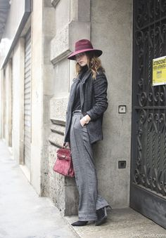 Angy looking fab in that hat and grey ensemble before Trusardi Men's AW, Milan. #AngelicaArdasheva #AngysTeaRoom #LeeOliveira