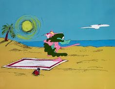 """Original hand painted and hand inked production animation cel of the Pink Panther and an Alligator from """"Pink Daddy,"""" 1978, Depatie-Freleng Enterprises; Production numbers lower cel edge; Set on a lithographic background; Size - Pink Panther & Alligator: 3 1/4 x 3 3/4"""", Image 9 1/2 x 12 1/4""""; Unframed."""