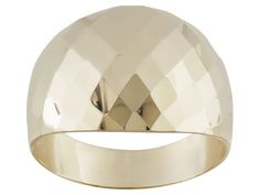 10k Yellow Gold Diamond Cut Wide Band Ring With Tapered Shank