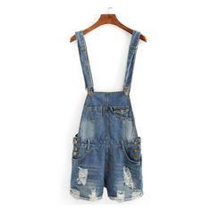 Distressed Rolled Hem Overall Denim Shorts ($18) ❤ liked on Polyvore featuring shorts, ripped denim shorts, distressed shorts, denim overalls shorts, short jean shorts and destroyed denim shorts