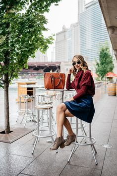 Burgundy sweater + navy skirt + lace up booties