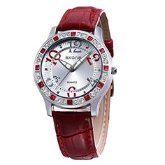 Skone Frauen Rot einzigartig farbig bunt Stil Leder Quarz Armbanduhren - http://uhr.haus/findtime/skone-frauen-blau-einzigartig-farbig-bunt-stil-4