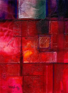 Magic Portal .. 3 ... Original Contemporary Modern Textured mixed media flower art painting by Kathy Morton Stanion EBSQ
