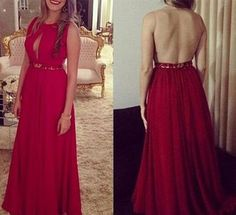 Custom Made Red Chiffon Prom Dress, O-Neck Evening Dress,Beading Party Gown,Sexy Open Back Pegeant Dress,Homecoming dress