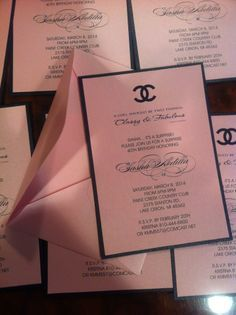 Chanel Invitations. Chanel Bridal Shower Invitations. Chanel Birthday Invitations. Custom made by Place Of Events.