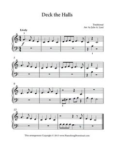 deck the halls free christmas music for beginning piano students - Free Christmas Piano Sheet Music