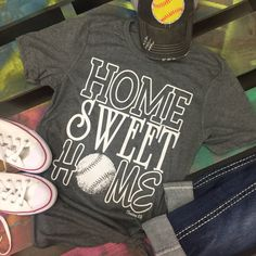 HOME SWEET HOME Baseball Softball Soft gray shirt tee t-shirt by chasingelly. Chasing Elly on Etsy.