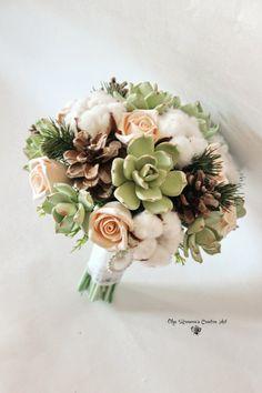 Winter wedding bouquet Bridal Bridebouquet with succulents Cotton pods and Fir…