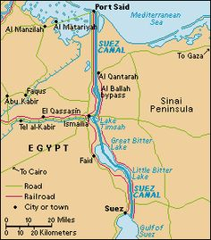The Suez Canal was in Egypt and was built by the Romans, it started in the Nile in Babylon and went to the Mediterranean Sea.