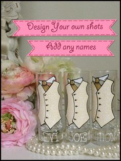 hand painted glass to order vodka shots wedding favours idea