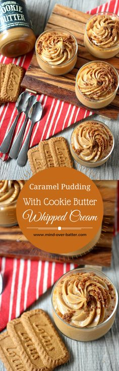 Caramel Pudding with Cookie Butter Whipped Cream