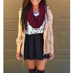 t-shirt skirt coat scarf ramones red scarf tan coat black skirt