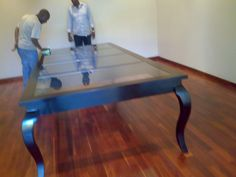 Large mahogany table with glass inlay