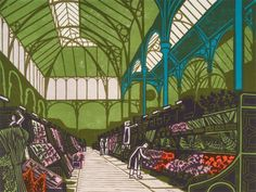 Edward Bawden Covent Garden Flower Market, 1967 Coloured lithograph from linocut Illustrations, Illustration Art, Royal College Of Art, London Art, Covent Garden, Flower Market, Printmaking, Giclee Print, Images