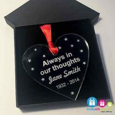 Memory heart personalised #decoration tree #bauble christmas #acrylic memorial, View more on the LINK: http://www.zeppy.io/product/gb/2/131644319422/