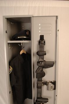 The Gear Clip Duty Belt Clip gets rid of the old twisted wire hangers and allows officers to hang their duty belt, dress belt, keepers, keys, and uniforms on your locker door. Police Officer Gifts, Police Gear, Police Gifts, Locker Organization, Locker Storage, Organization Ideas, Swat Vest, Rangers Gear, Belt Storage