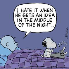 """""""I hate it when he gets an idea in the middle of the night"""", Snoopy, the Literary Ace , poor Charlie Brown."""