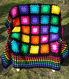 Multicolor Granny Square Throw