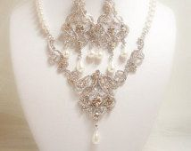 Wedding jewelry SET, Bridal jewelry SET, Bridal Necklace SET, Pearl Chandelier earrings, Crystal necklace, Art Deco Jewelry, Statement