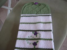 Embroidered Kitchen towel potholder combos for stove or refrigerator. $8.95, via Etsy.
