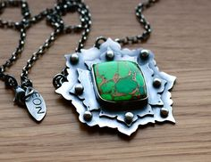 Green Turquoise Necklace in Sterling SilverLotus by EONDesign, $215.00