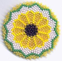 Peyote Stitch Graph Paper For Lighter Covers | SUNFLOWER MANDALA FOR REALLY, REALLY ROUND PEYOTE