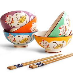 Endulge bedford yanhuang japanese style tableware glaze colored drawing ceramic bowl lucky cat bowl 5 color colorful bowls rice-inTableware from Home & Garden on Aliexpress.com
