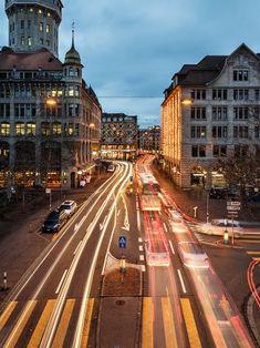 Rush hour in Zurich, Switzerland. Rush Hour, Zurich, Switzerland, Street View