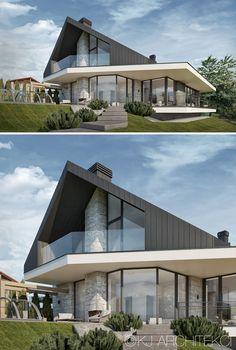 New Modern House, Modern House Plans, Concept Architecture, Architecture Design, House Outside Design, Chalet Design, Modern Villa Design, House Extension Design, Architectural House Plans
