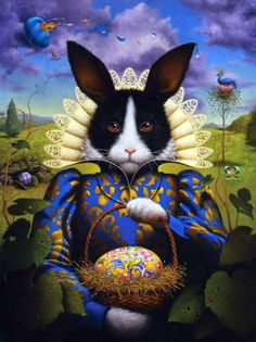 """""""A Blessed and Happy Easter to All My Awesome Friends, wherever in the world you are! Easter Beautiful by Lisa Falkenstern. Fantasy Kunst, Fantasy Art, Lapin Art, Art Fantaisiste, Year Of The Rabbit, Illustration Art, Illustrations, Rabbit Art, Photocollage"""