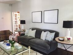 Comfy Cozy Couture at Home | Living Room Updates | Lee Industries Roll Arm Sofa | Anthropologie Tripod Side Table