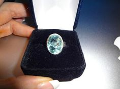BEAUTIFUL BLUE TOPAZ 925 SILVER RING-FANTASTIC RING! SIZE 7~FREE SHIPPING~PHOTON!~
