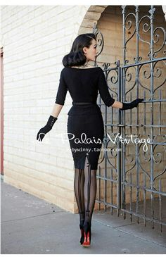 Gorgeous stockings and pencil skirt combo, love the short gloves and peplum jacket Look Fashion, Retro Fashion, Vintage Fashion, Fashion Outfits, Womens Fashion, Retro Mode, Mode Vintage, Vintage Ladies, Pin Up